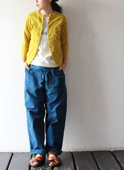 Blue and yellow. takanna.com. nice. could fake, but need cardigan.