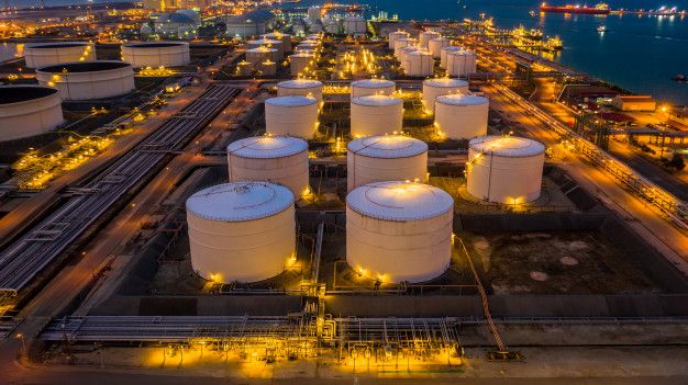 Oil Terminal Is Industrial Facility For Storage Of Oil And Petrochemical Products Ready For Transport To Further Storage Facilities Aerial View Storage Facility Aerial View Aerial