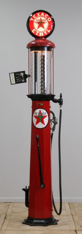 """vintage """"gas pump"""" My grandfather had one on the ranch.... We use to take turns pumping the gas up into the glass."""