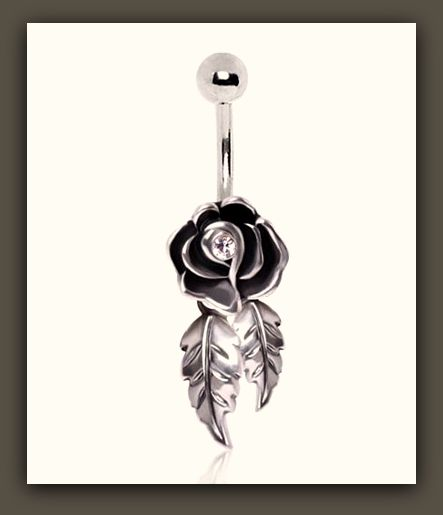 "Cutie Rose with Dangling Leaves 316L Surgical Steel Belly Button Ring "" FREE SHIPPING """