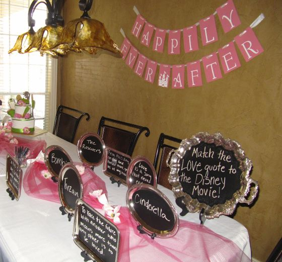 FitStyledBridalShower2  Games: Matching the love quote to the movie! (Disney themed)