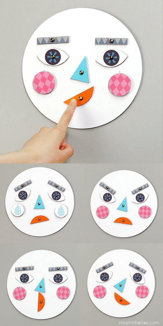 Encontrei este jogo e achei muito engraçado para mostrar às crianças as diferentes emoções.   Simples de fazer, vai precisar de:   6 p...