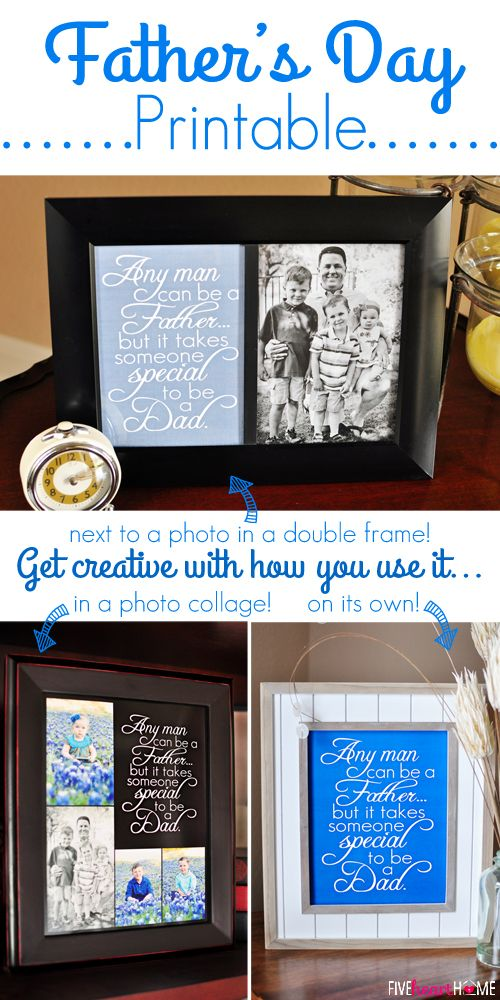 Father's Day Free Printable: Dad Quote ~ Frame it on its own, next to a photo, or as part of a collage; available in 2 sizes and 3 colors | Five Heart Home