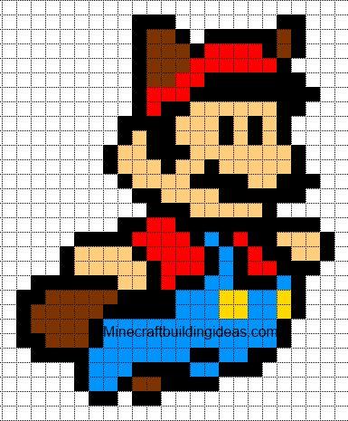 Minecraft Pixel Art Templates: raccoon Mario for crochet afghan