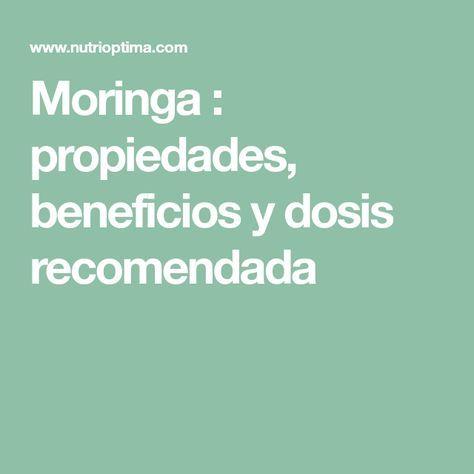 Moringa : propiedades, beneficios y dosis recomendada