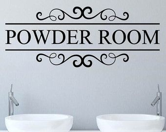 Powder Room Decal Bathroom Wall Decor Restroom Wall Decal Powderroom Bathroom  Wall Decals Bathroom Wall Art
