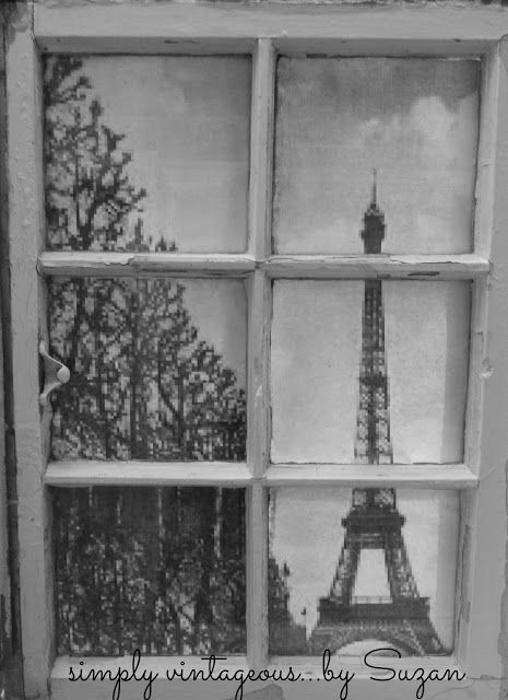 Vintage Window Eiffel Tower, another great idea for an old window.