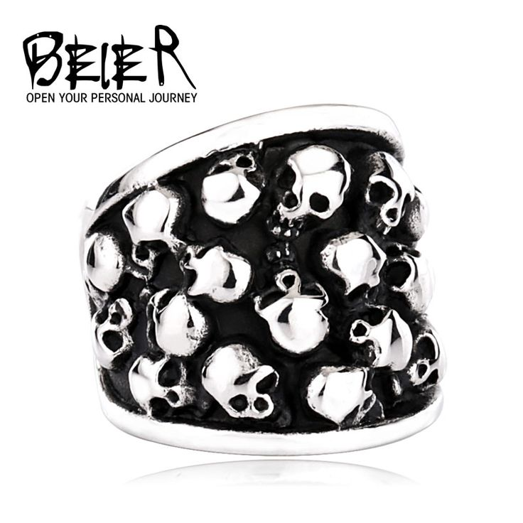 Heavy Metal Fashion Lots Biker Skull Accessories Stainless Steel Exaggerated ring Personality Big  BR8-247