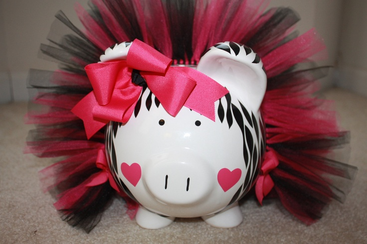 Zebra Print Large Piggy Bank With Hot Pink and Black Tutu And Bow With Heart Cheeks. $35.00, via Etsy.