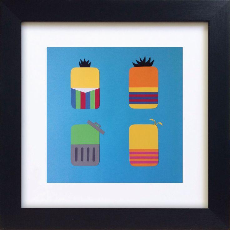 Handmade Minimalist Sesame Street Poster - Framed