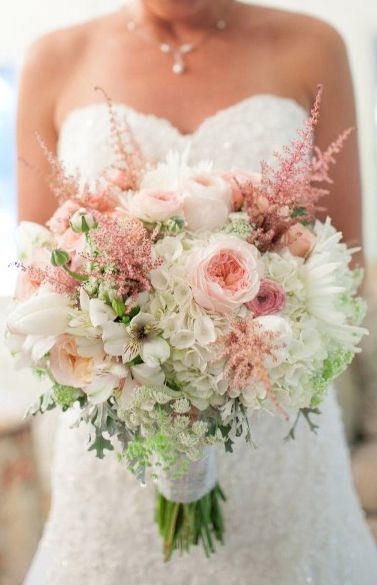 Bridal Bouquet! Made with Peonies, Ranunculus, Roses, Spider Mums, Hydrangea, Tulips, Queen Anne's Lace, Astilbe, Alstromeria, Dusty Miller, and more!