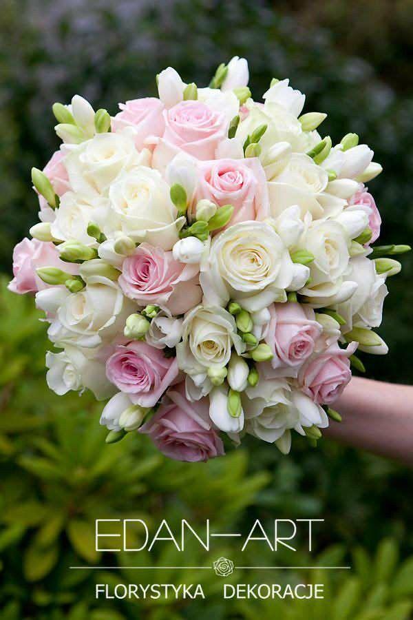 Round Wedding Bouquet: White Freesia, White Roses + Pink Roses