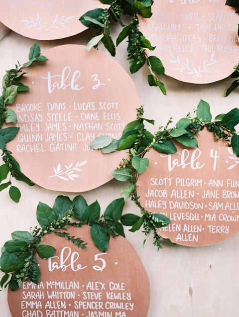 Metallic Bohemian Seating Chart in Copper and Calligraphy | Blush Wedding Photography | http://heyweddinglady.com/metallic-bohemian-wedding-ideas-coral-copper