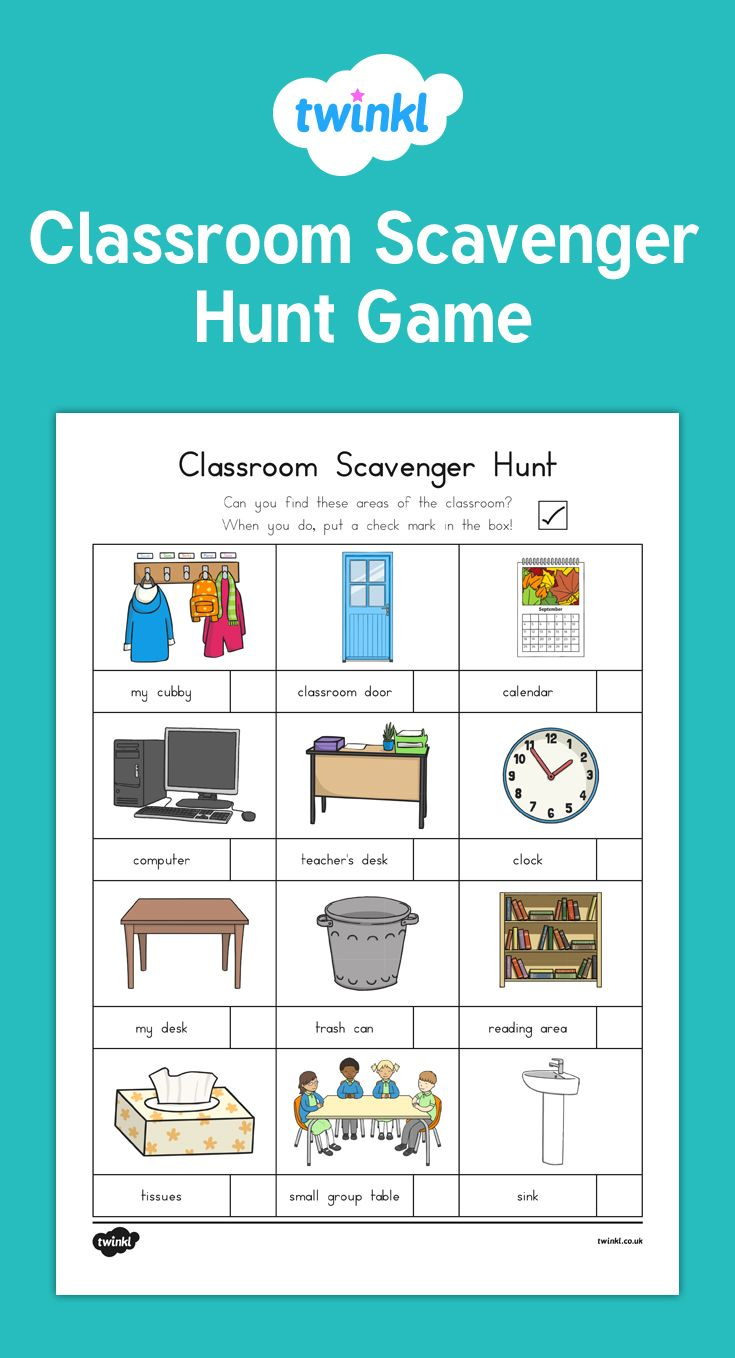 This back to school scavenger hunt game is a great way to enthuse children as they get to know their new classroom better in the first week of school!