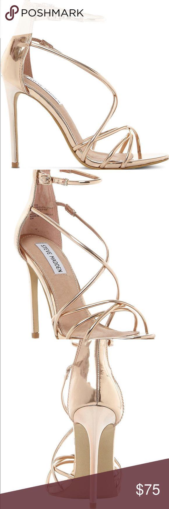 Rose gold sandal heels Strappy and super comfortable. Never worn! Steve Madden Shoes Sandals