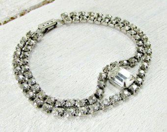Vintage Rhinestone Bracelet Clear and Black by IridiumJewelry