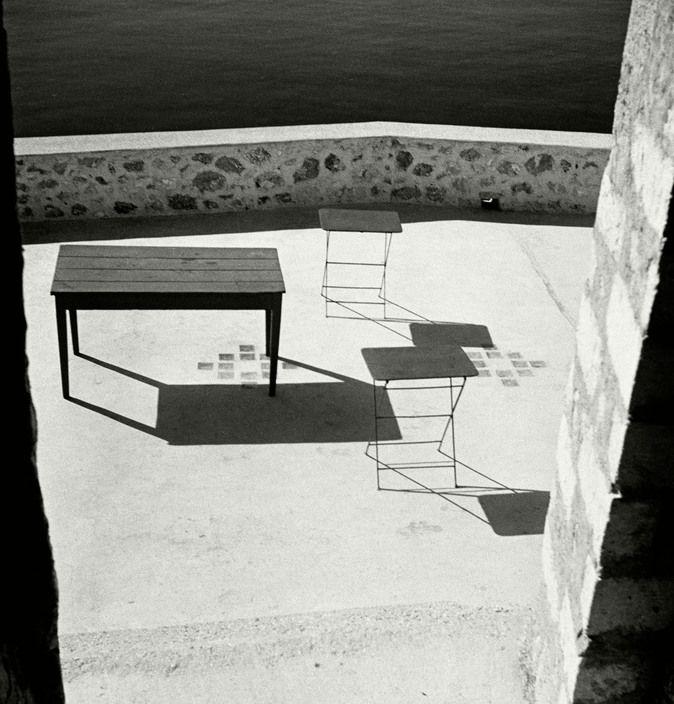 "Herbert List. GREECE. Peloponnese. Bourtzi Island, off Nauplia. ""Terrace by the sea"". Magnum Photos -"
