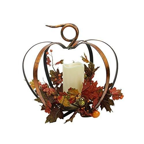 12.5 Autumn Harvest Battery Operated Led Lighted Pumpkin Candle Thanksgiving Decoration  Pumpkin is accented with autumn colored leaves, mini orange pumpkins, metal swirls and a sprinkling of glitter #Metal #pumpkin #frame has an antiqued finish and is foldable, you can display it any way you wish, folded up or spread out. Pumpkin sits nicely on a table top or can be hung by the metal hook on the top Lights up with (1) LED #flameless #candle  Candle has an amber-colored flicker light...
