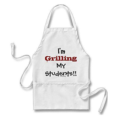 Grilling My Students! Teacher Professor Slogan Long Apron