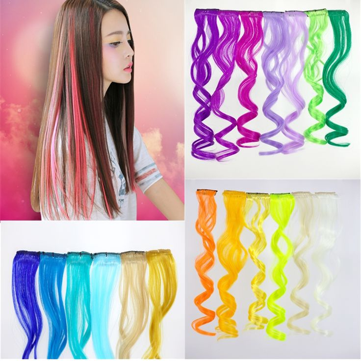 Synthetic Clip In Hair Extension 50cm Curly Long Mixed Color 3PC/lot Rainbow Hairpieces For Fashionable Women, Colorful hair, confident life