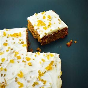 Parsnip and pecan tray bake cake with stem ginger topping Recipe ...