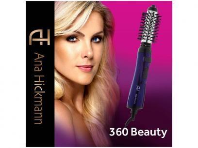 Escova Modeladora Relaxbeauty Rotativa Turmalina - 700/900W com Íons Ana Hickmann 360 Beauty Bivolt