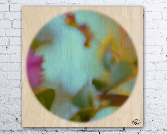 ECO Wood Print Circle Art Aqua Yellow Green by MillyLillyArtistry