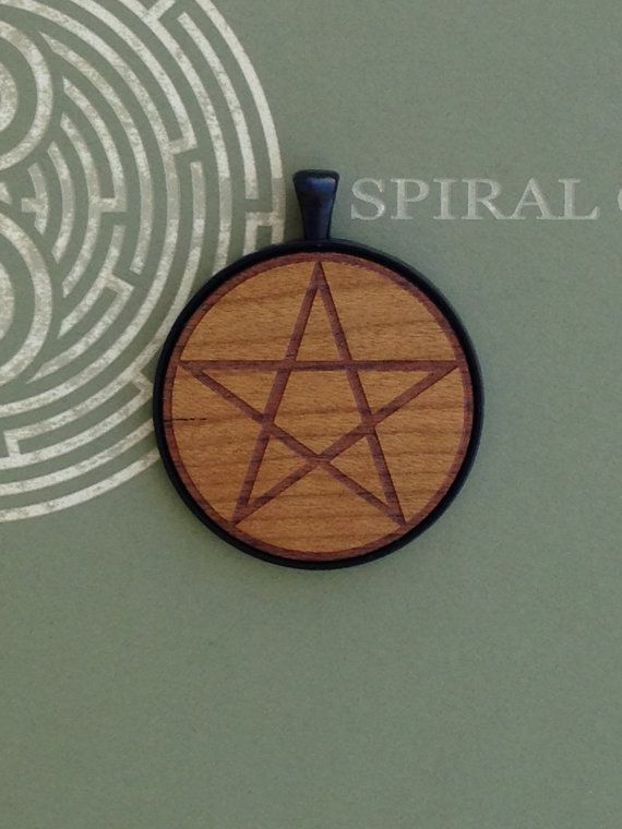 Pentagram Symbol  Laser Engraved Wood Pendant by SpiralCutStudio