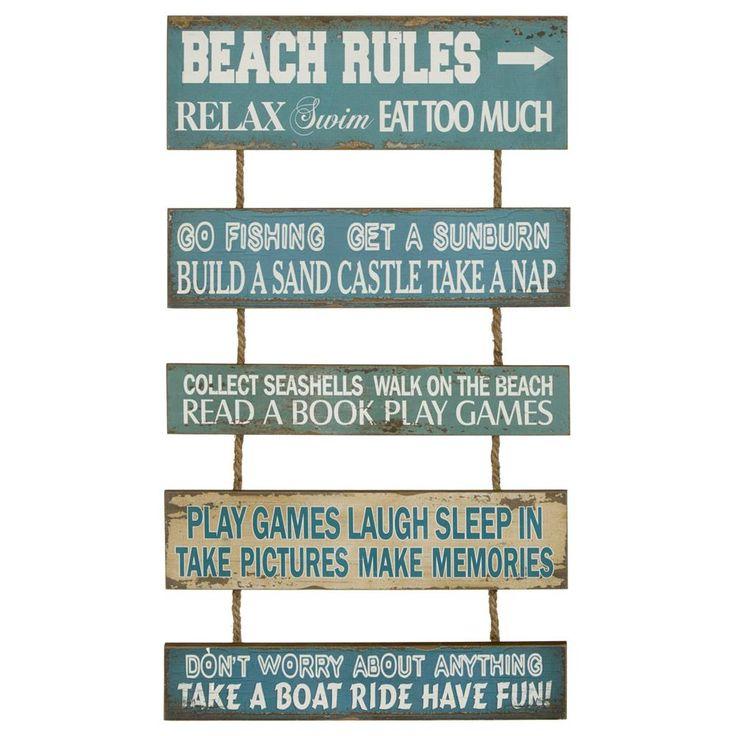 Beach Rules Wood Wall Art | Bouclair.com