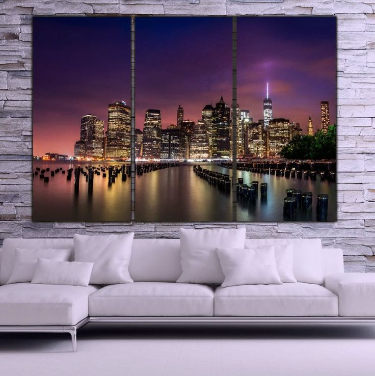 New York City Skyline Canvas Wall Art Sunset