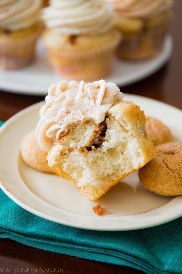 How to make delicious cinnamon swirl snickerdoodle cupcakes! Recipe on sallysbakingaddiction.com