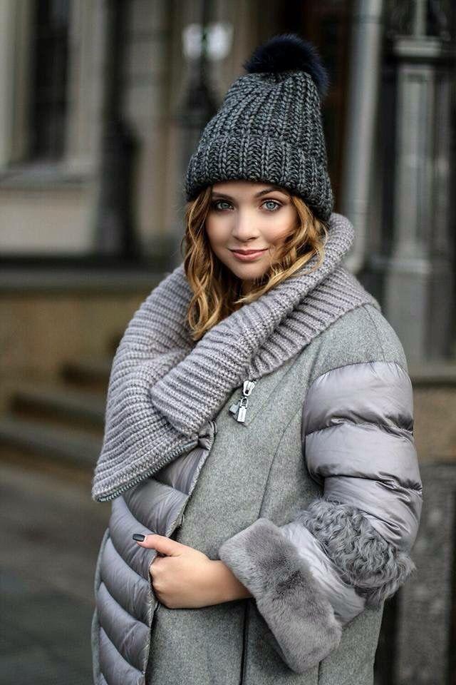 Купить Шапка крупной вязки с меховым помпоном - темно-серый, однотонный, шапка, шапка женская