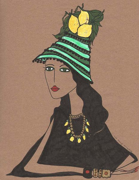 "Rebecca Moses Capri Series Illustration ""The Lemon Lady""    www.trafficnyc.com"