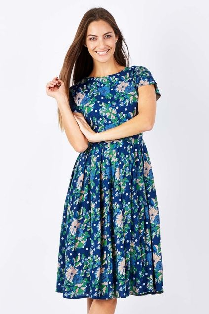 ELISE - Annie Green and Navy Dress