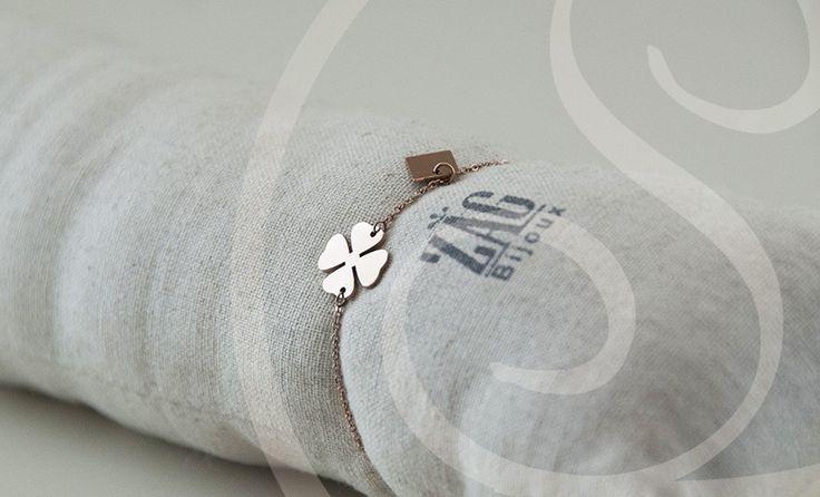 Zag Bijoux Armband Klavertje 4 Rosegoud