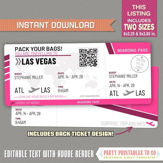 Editable Airplane Boarding Pass Pink Surprise Trip Airline Etsy Airline Tickets Boarding Pass Airline
