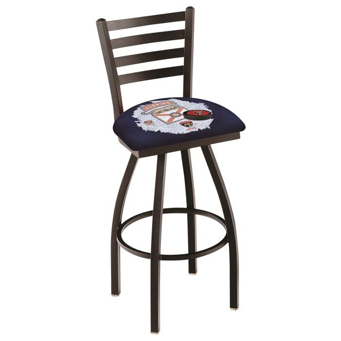 Florida Panthers NHL D2 Ladder Back Bar Stool available in 25-inch and 30-inch seat heights. Visit SportsFansPlus.com for details!