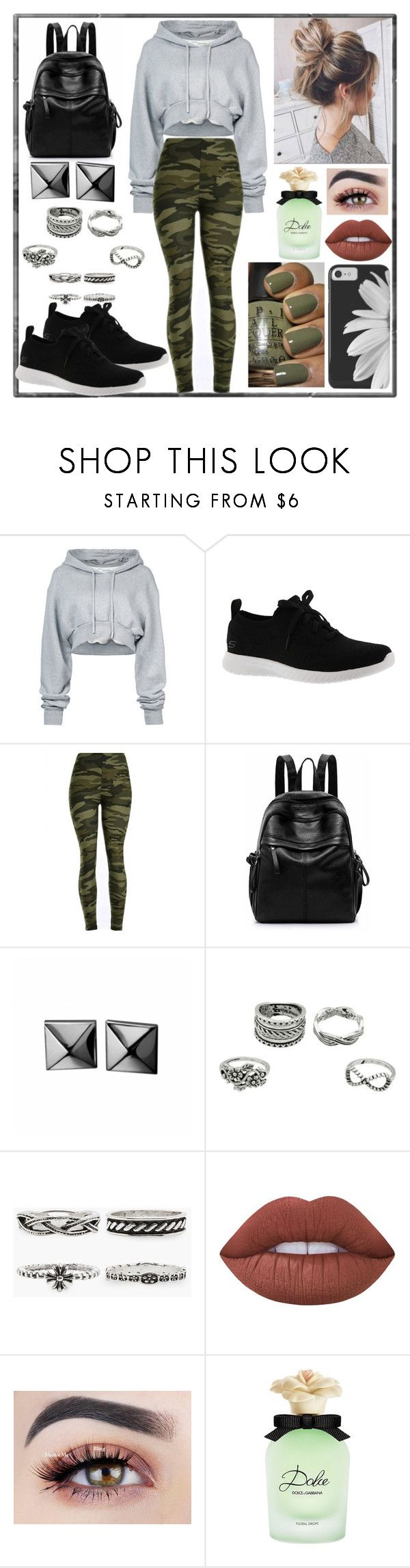 """🖤⚪️🌱"" by sbeidy ❤ liked on Polyvore featuring Off-White, Skechers, WithChic, Waterford, Lime Crime and Dolce&Gabbana"