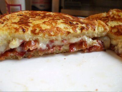 French toast grilled cheese+bacon sandwich!