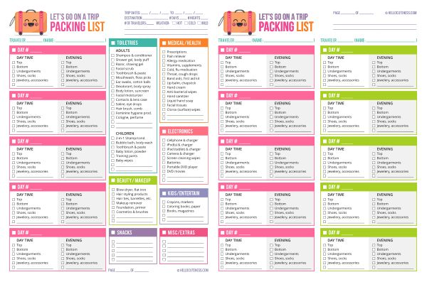 free packing list template