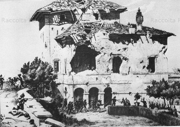 Villa Spada che era posta lungo le antiche mura Aureliane tra Il Fontanone dell'Acqua Paola e porta San Pancrazio.Circa dove c'è ora Via Masina . Quì si attestarono a difesa i bersaglieri lombardi di Luciano Manara che quì fu ucciso il 30 Giugno da un colpo francese mentre si affacciava da una finestra per scrutare i movimenti del nemico. Anche Garibaldi spostò all'interno della villa il suo Quartier Generale, Anno 1850 ca