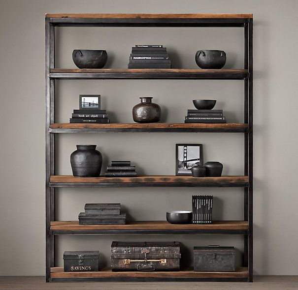 Shipwood Open Shelving Wood Shelves Bookcase Restoration Hardware