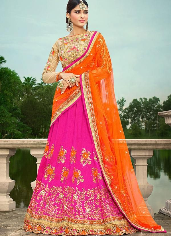 Art Silk Wedding Lehenga in Pink