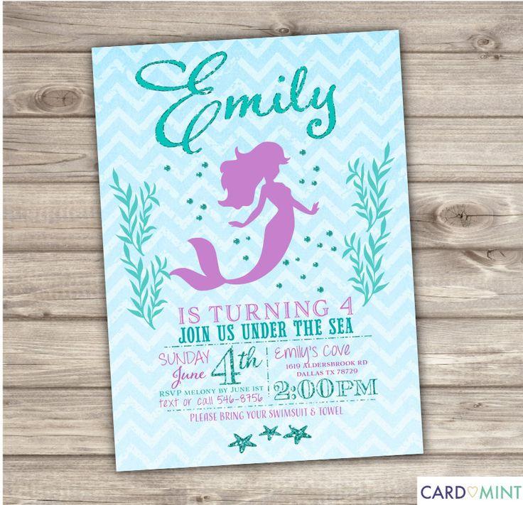 Mermaid Pool Party Invitations for beautiful invitation sample