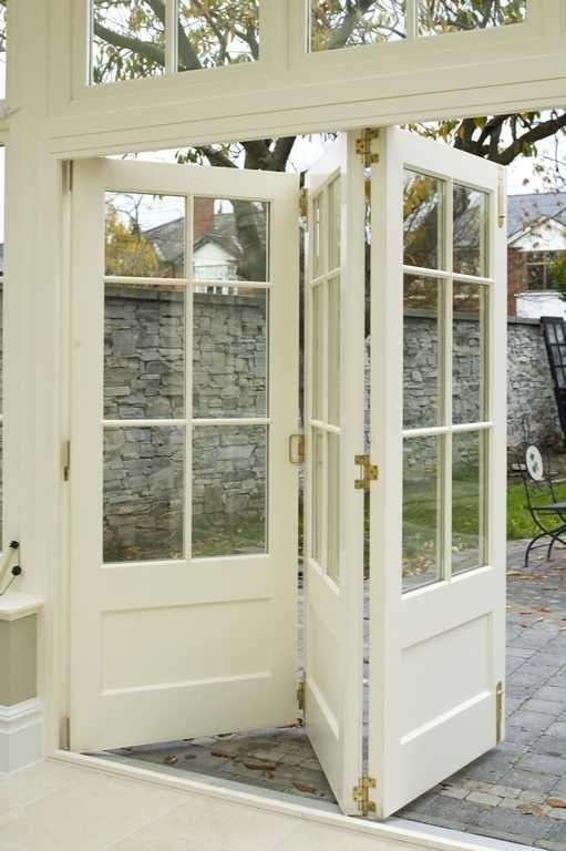 Gorgeous Bi-Fold FRENCH DOORS ... of course fab for the house ... but use this idea for a garden retreat or potting shed using vintage doors...French, solid wood or screen.  What A Great Idea!