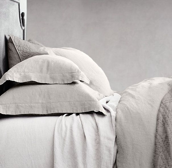 Stonewashed Belgian Linen Bedding Collection - ou mist