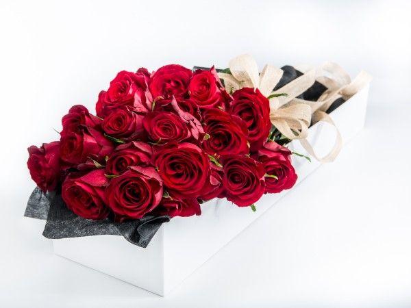 24 Long Stem Red Roses in a white gift box. www.fleurus.com.au