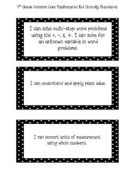 Student Friendly 4th Grade Math Common Core Standards Labels