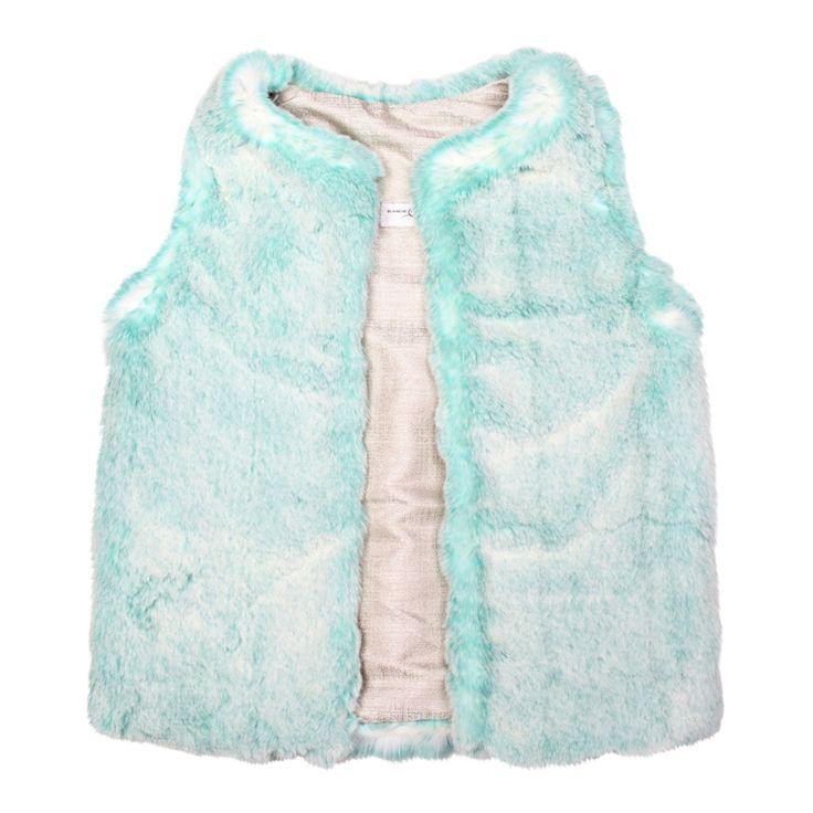 Mint green faux fur gilet vest by Blanche in the Brambles