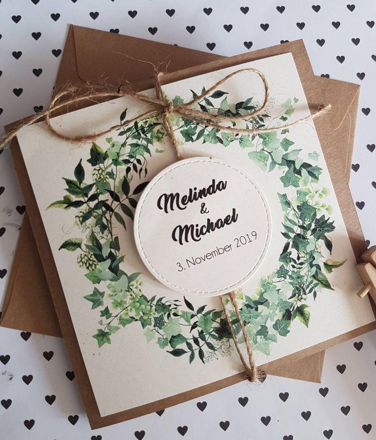 10x Hochzeitseinladungen Blätter PflanzenVintage Einladung | Etsy